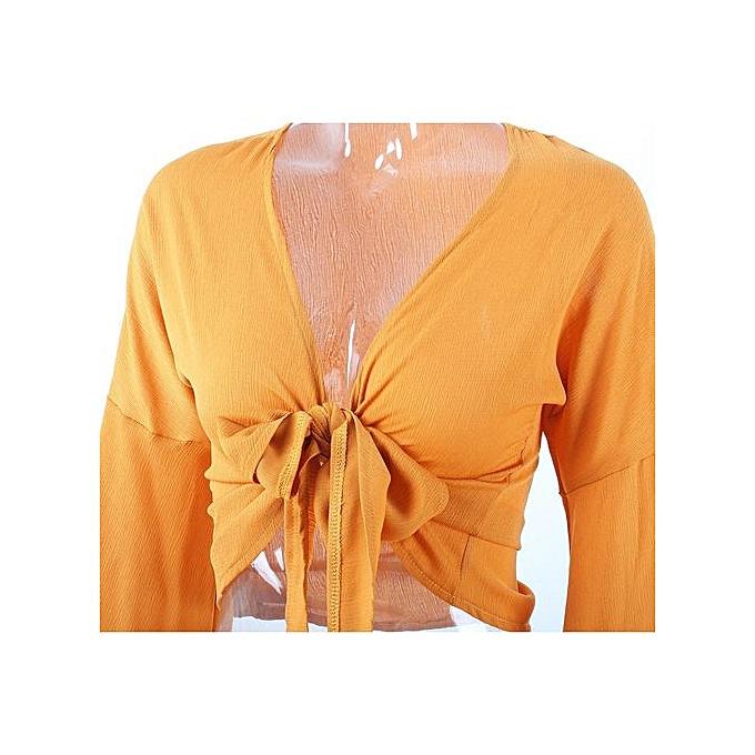 mode Tectores mode  mode nouveau femmes hauts Strap Bawting Sleeve T Shirt Cacual V Neck chemisier à prix pas cher
