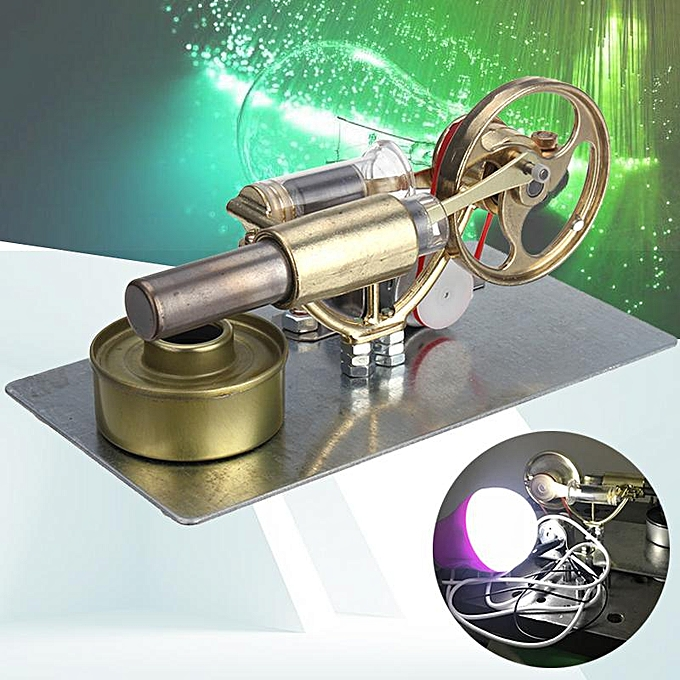 UNIVERSAL Mini Hot Air Stirling Engine Motor Model Educational Toy Kit Gift With LED lumière à prix pas cher