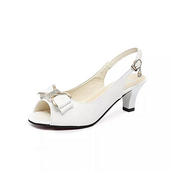 Fashion Sandales Bow strass à talons hauts - Blanc à prix pas cher
