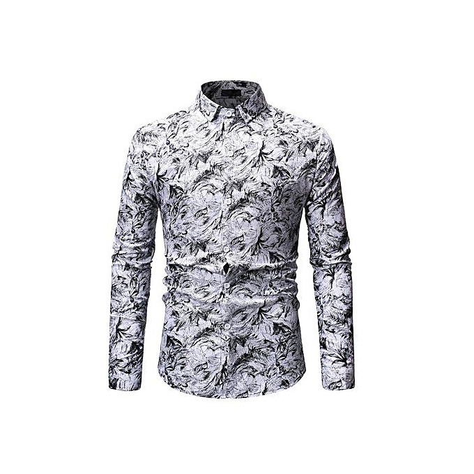 Other Spring and Autumn Men's Casual Printing Long Sleeve Shirts-blanc à prix pas cher