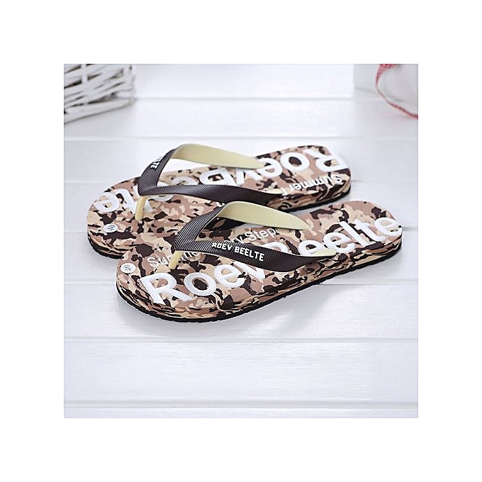 Fashion Jiahsyc Store Men Summer Camouflage chaussures Sandals Male Slipper Indoor Or Outdoor Flip Flops -marron à prix pas cher