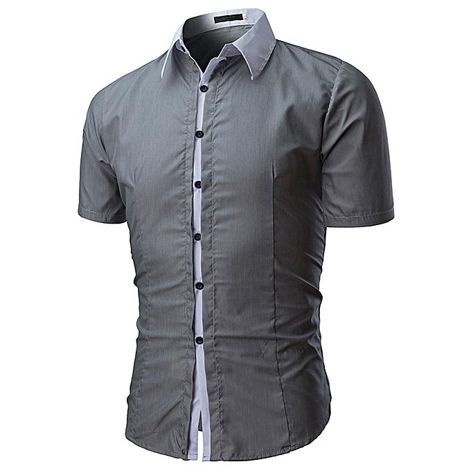 mode jiuhap store Hommes Shirt mode Solid Couleur Male Décontracté manche courte Shirt GY L à prix pas cher
