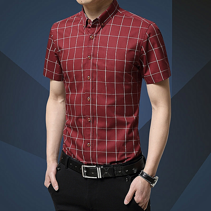 Fashion Young and middle-aged fashion new hommes short-sleeved plaid casual non-iron half-sleeved shirt rouge à prix pas cher
