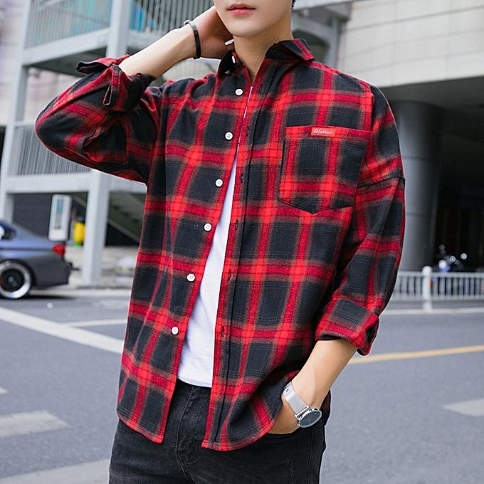 Tauntte Check Formal Shirts Hommes manche longue Shirts (rouge) à prix pas cher