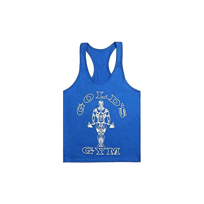 Other New Stylish Men's Monochrome Fitness Body Building Sports Training Cotton Fitness Vest-bleu&blanc à prix pas cher