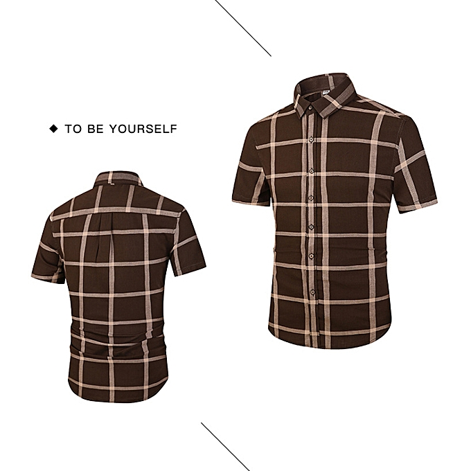 mode Été nouvelle chemise à hommeches courtes hommes grande chemise à voiturereaux rétro occasionnel mâle D906-marron à prix pas cher