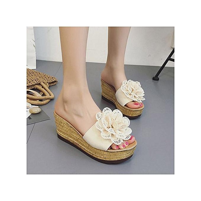 Fashion Hiamok_Summer Floral Platform Waterproof femmes Sandals Wedge Sandals Slippers chaussures à prix pas cher    Jumia Maroc