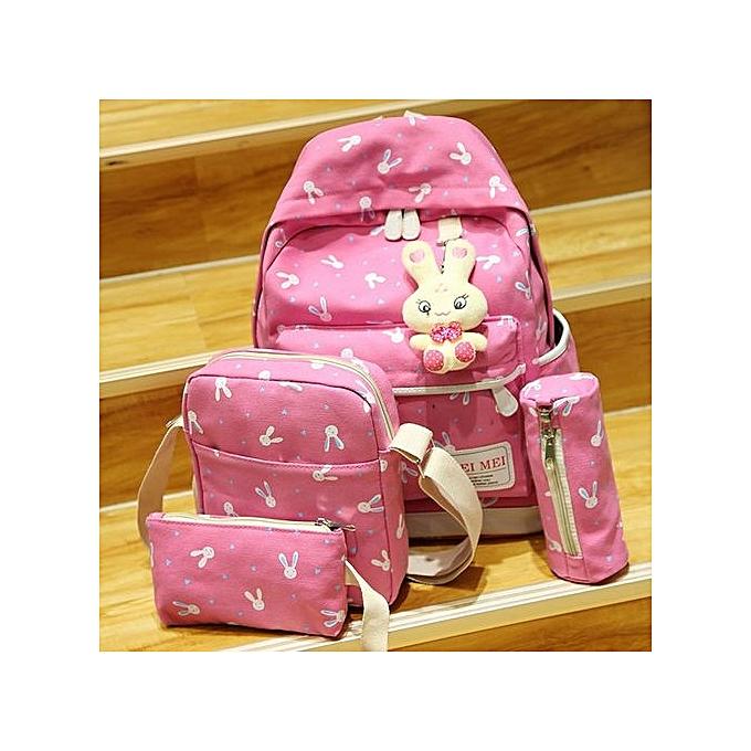 nouveauorldline 4 Sets femmes Girl Rabbit Animals voyage sac à dos School sac Shoulder sac Handsac-Hot rose à prix pas cher