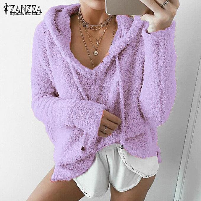 Zanzea femmes Winter Hooded Fluffy Long Sleeve Top Shirt Jumper Hoodie Sweatshirt à prix pas cher