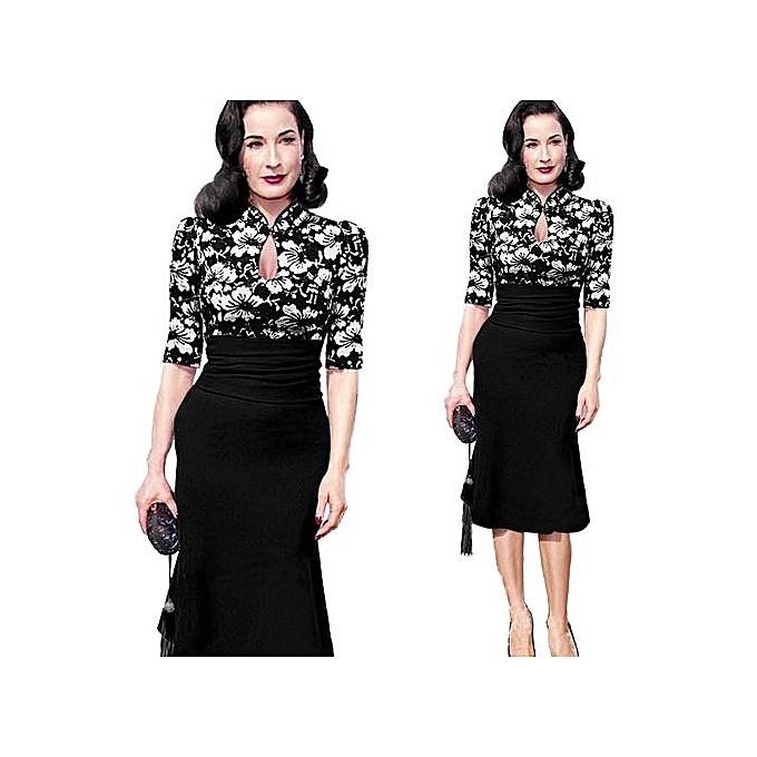 Fashion Bow Contrast Couleur Patchwork Sheath Bodycon Pencil Dress Knee-Length Wear To Work Business Dress Haft Sleeve-noir01 à prix pas cher