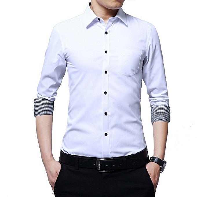 Fashion Autumn New Men's Long Sleeve Shirt Printed Cuffs Slim Casual Men Shirt à prix pas cher