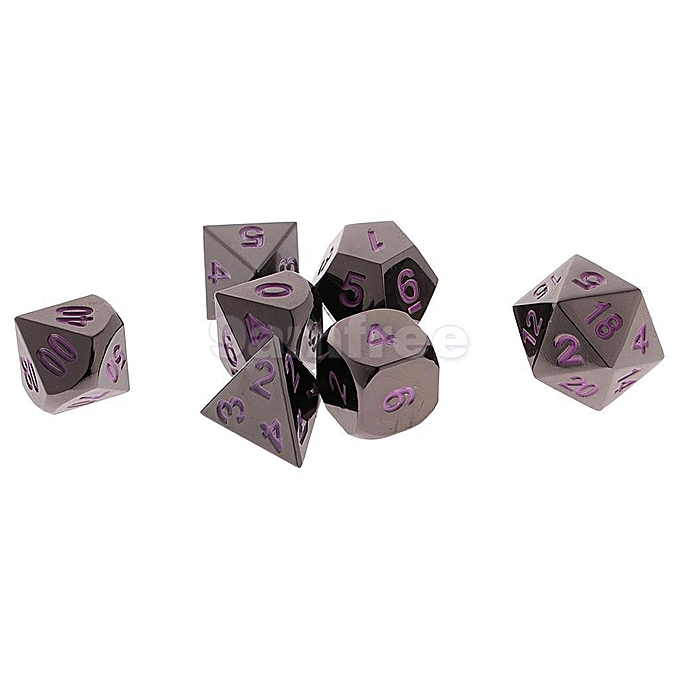 UNIVERSAL noir Nickel Dice Set Numberal Polyhedral for Dungeons and Dragons Warhamme   violet à prix pas cher