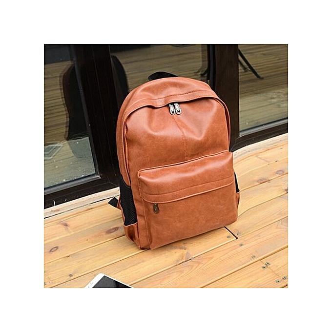 Fashion SingedanMen's Wohommes Leather Backpack Laptop Satchel Travel School Rucksack Bag marron -marron à prix pas cher