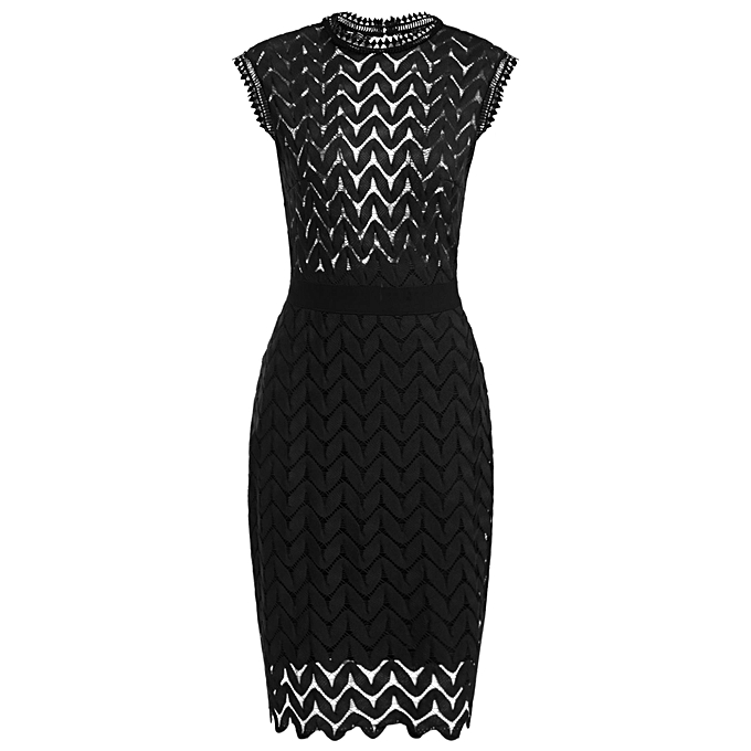 Sunshine New femmes Vintage Styles O-Neck Sleeveless Zigzag Hollow Out Lace Backless Tunic Sheath Cocktail Party Dress With Lining-noir à prix pas cher