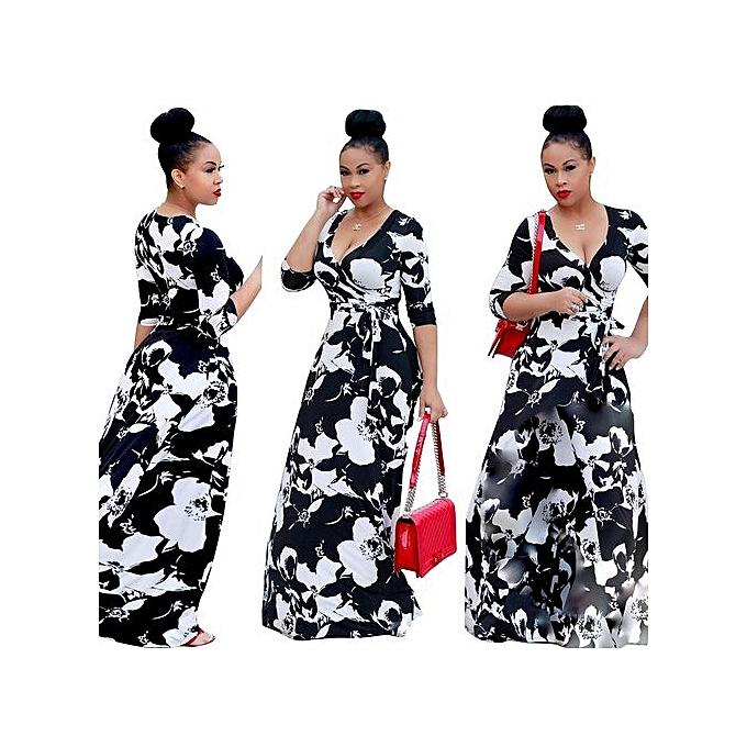Generic femmes Sexy Midi-Sleeve V-neck Slim Nightclub Dresses Party Dresses Maxi Dresses-blanc noir à prix pas cher