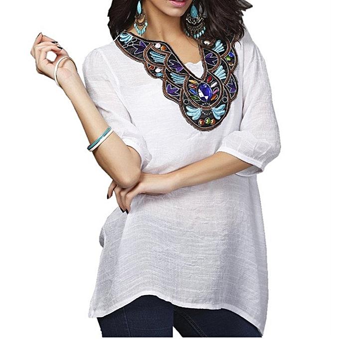 Zanzea ZANZEA  femmes V-neck Embroidery Diamonds Blouse Summer Ladies 3 4 Sleeve Casual Vintage Loose Long Shirt Tops Plus Taille blanc à prix pas cher