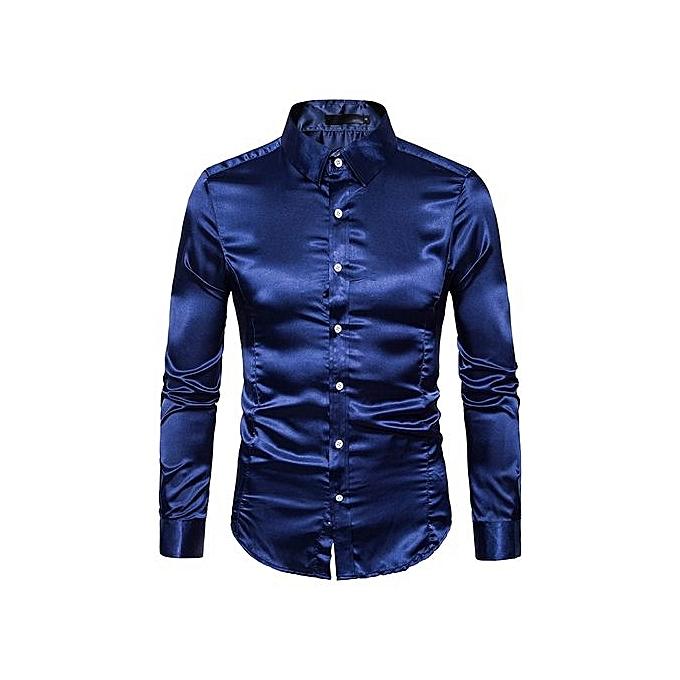 Neworldline Fashion Personality Men's Casual Slim Long-sleeved Shirt Top Blouse -navy L à prix pas cher
