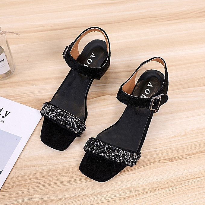 Générique Sedectres WoHommes  Solid Crystal Square Toe Wedges Hook High Loop High Hook Heeled Shoes Sandals Black-Black à prix pas cher  | Jumia Maroc ce2d50