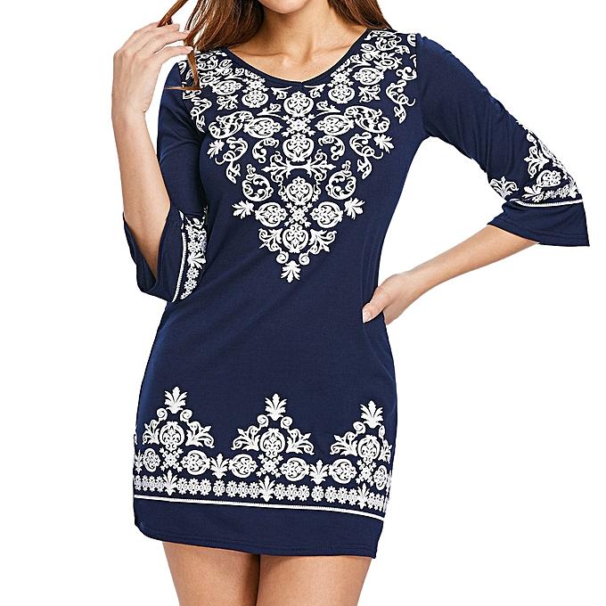 Generic Xiuxingzi femmes Casual Half Sleeve Ethnic Print V Neck Shift Mini Dress NY XL à prix pas cher