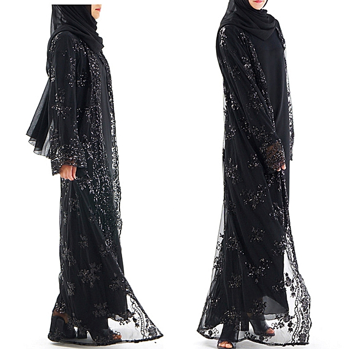 Fashion (Xiuxingzi) Muslim femmes Lace Sequin Cardigan Maxi Dress Kimono Open Abaya Robe Kaftan Dubai à prix pas cher
