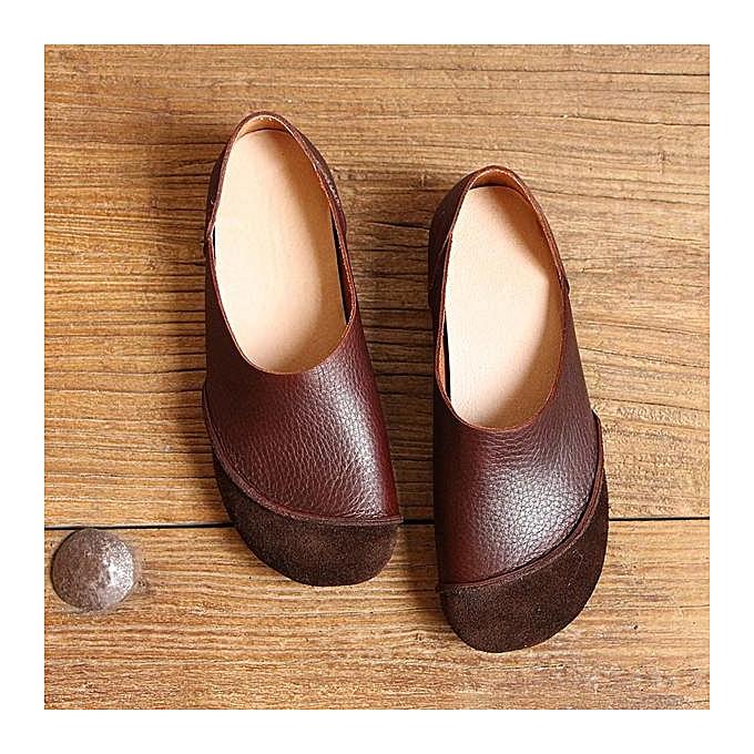Fashion SOCOFY Fashion Genuine Genuine Fashion Leather Color Match Soft Flat Slip On WoHommes  Loafers Boat Shoes à prix pas cher  | Jumia Maroc 28e4cb