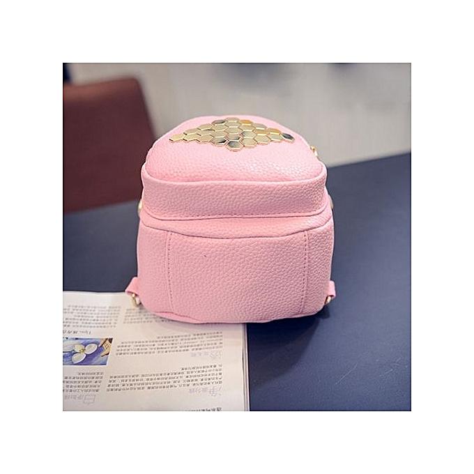 Generic femmes Leather Hexagonal Rivets Solid Couleur Simple BagsTravel Bags Backpack PK B à prix pas cher