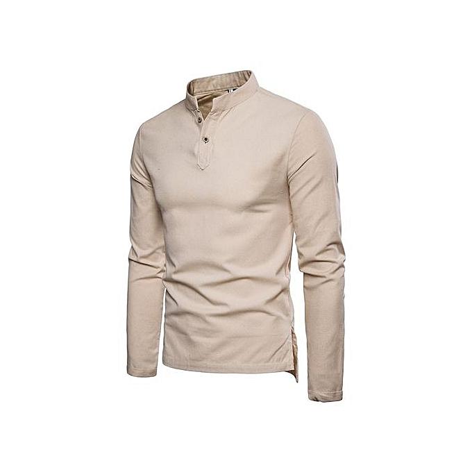 Other Men's Casual Stand Collar Slim Shirt Long Sleeve Dress Shirts -Beige à prix pas cher