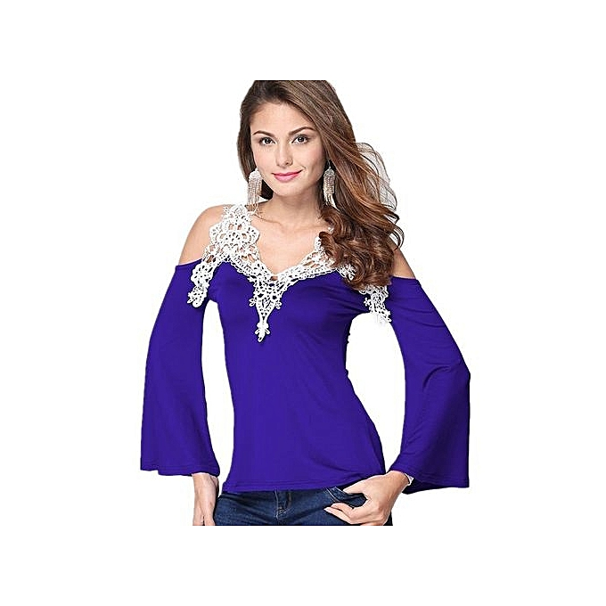Generic Cut-out Shoulder Long Flableu Sleeve Crochet Blouse (bleu) à prix pas cher