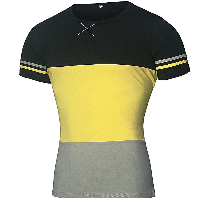 mode Pour des hommes Plus Taille Splicing Shirt manche courte T-Shirt chemisier hauts -jaune à prix pas cher