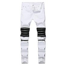 99c06a7f550 Jeans pour hommes Genoux Plus Trous zippés Fray Fashion Boite de nuit  Pantalon Jeans skinny-