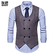 1442ec4f010f0 New Casual Men Vest Double Breasted Brand Suit Vest Wedding Vests Gilet  Slim Fit Sleeveless Waistcoat