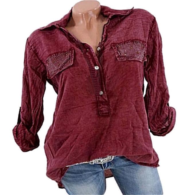 mode femmes Lapel V-Neck chemisier Pure Couleur Sexy Shirts Pocket hauts (S-5XL) à prix pas cher