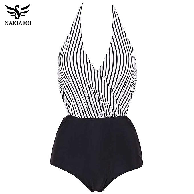 Autre New Swimsuit Taille femmes Swimwear Backless Halter Top Swimsuit Patchwork Bathing Suit Swim Wear(PI) à prix pas cher