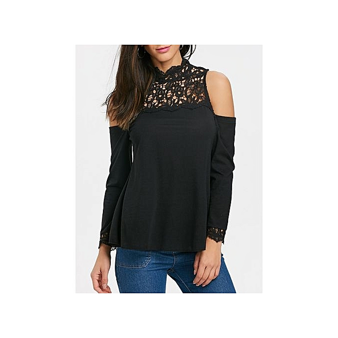 RobeFO Crochet Lace Panel manche longue Cold Shoulder T-shirt_noir_S à prix pas cher