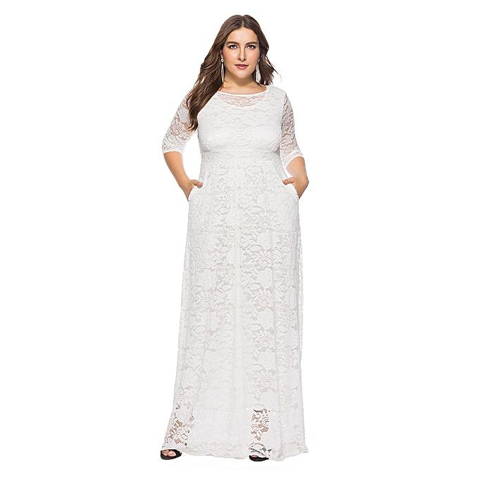 Fashion TCE femmes Solid OverTailleFloral Lace Plus Taille Cocktail Formal Swing Dress à prix pas cher