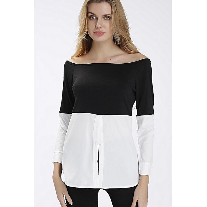 mode YOINS nouveau femmes High mode Clothing Décontracté Off Shoulder manche longues Loose Fit Shirt Top à prix pas cher