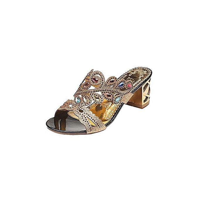 mode Blicool Shop femmes Sandals été mode femmes Girl Big Rhinestone  Heel Sandals Ladies Sparkling Slipper-noir à prix pas cher