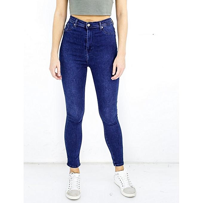 8a70f8608ac5c Commandez KATZE Pantalon jean Stretch taille haute bleu à prix pas ...