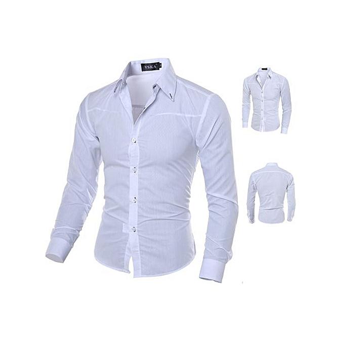 Other Taille M-5XL Hommes& 039;s Décontracté manche longue Shirt Slim Fit chemisier-blanc à prix pas cher