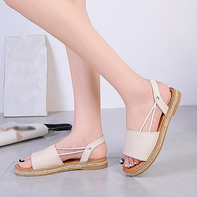 Generic Generic Vintage femmes respirant Flat Anti SEnfantding Open Toe plage chaussures Rome Sandals A1 à prix pas cher