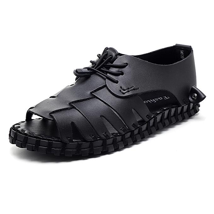 14ca2b20f2 Men Open Toe Genuine Leather Sandals Adjustable Elatic Slip On Breathable  Shoes
