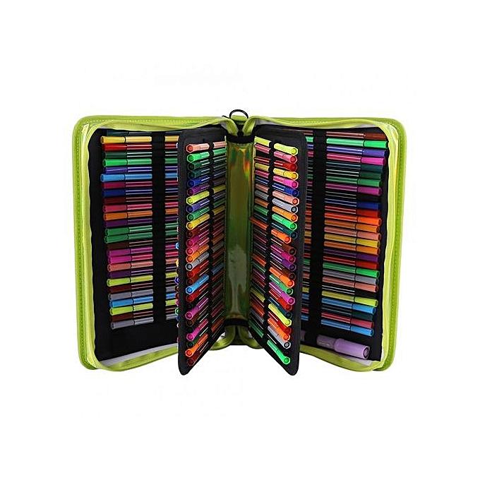 Other 160Slots Pen Storage Bag Couleurt Pencil Case Drawing Pens Pouch Stationery Handbag Laser (vert) à prix pas cher