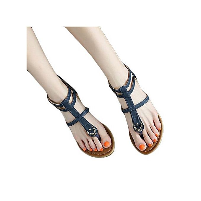 Fashion Hiamok_femmes Flat chaussures Bohemia Lady Slippe Sandals Rivet Peep-Toe Outdoor chaussures à prix pas cher