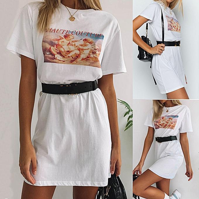 mode mode femmes blanc été O-Neck manche courte Angle Print Décontracté Mini Robe à prix pas cher