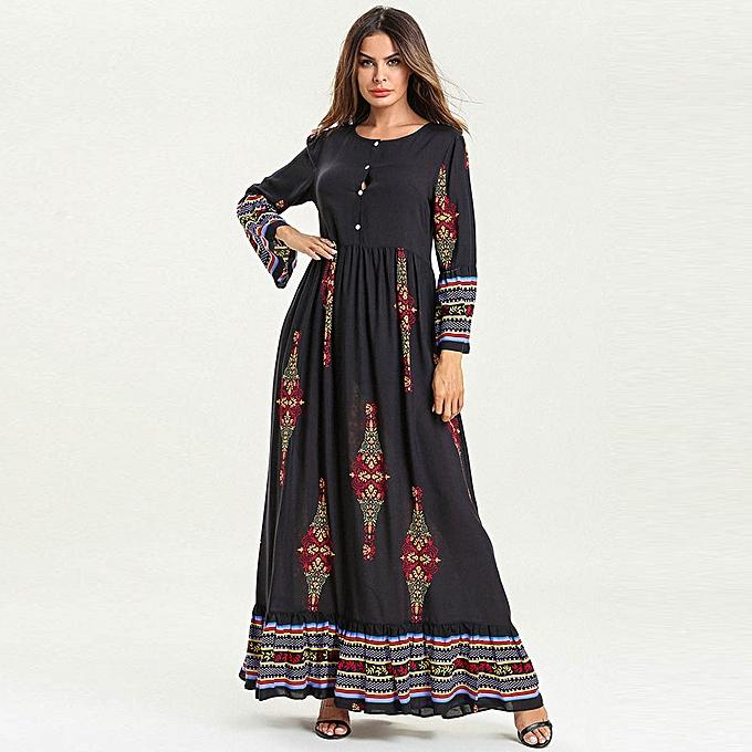 Fashion Hiamok femmes Muslim Floral Print Long Maxi Dress Abaya Jilbab Dubai Kaftan Robe Islamic à prix pas cher