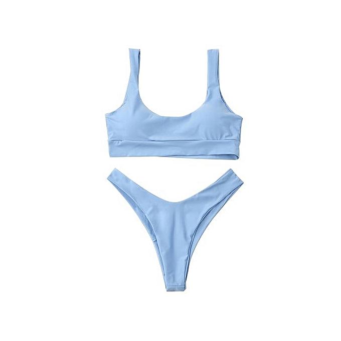 Fashion Padded High Leg Bikini Set_LIGHT bleu à prix pas cher