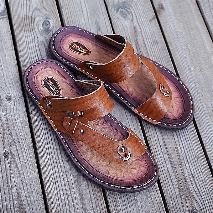Fashion Retro Men's Leather Sandals Beach Slip On Flat Flip chaussures Summer Casual Slippers à prix pas cher    Jumia Maroc