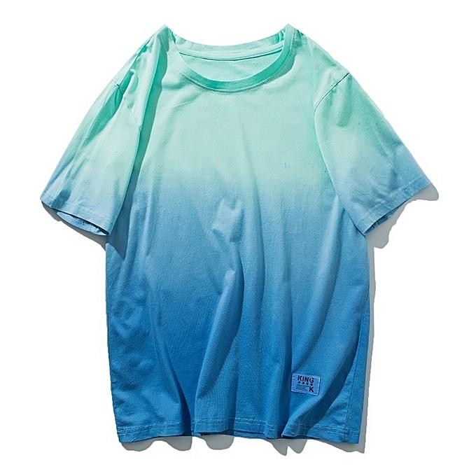 Fashion Autumn New Men's Short Sleeve T-shirt Gradient Cotton Loose Casual Men Tshirt à prix pas cher
