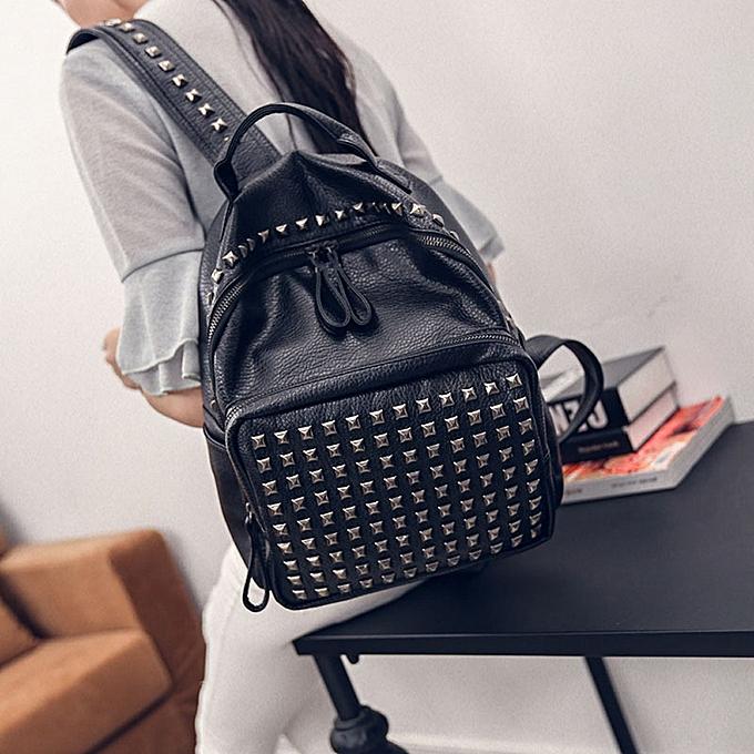 mode Tcetoctre Girl Rivet cuir School sac voyage sac à dos Satchel femmes Shoulder sac à dos-noir à prix pas cher