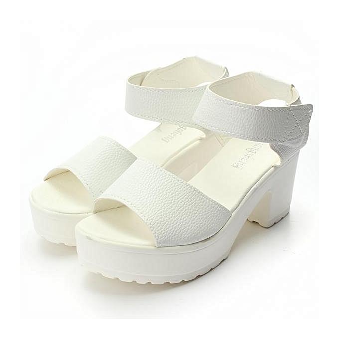 Fashion Fashion femmes Summer Block Heel Creeper Sandals Ankle High Platform chaussures-EU à prix pas cher